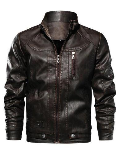 Standard Plain Stand Collar Zipper Slim Leather Jacket