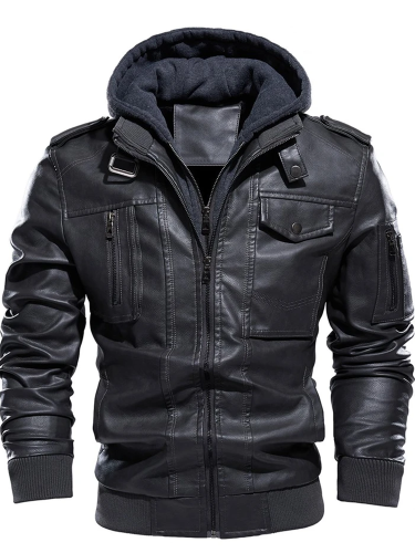 Pocket Hooded Plain Loose Fall Jacket