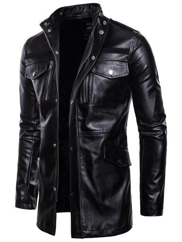Mid-Length Stand Collar Plain Zipper Slim Leather Jacket