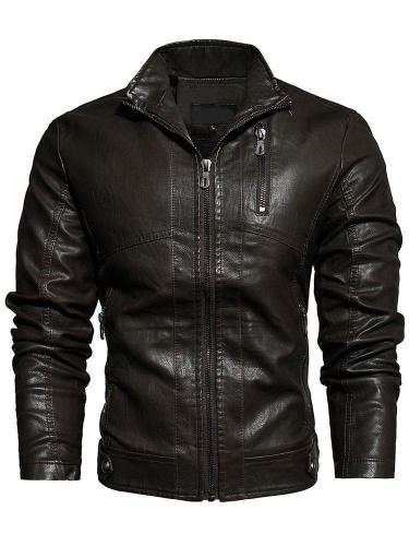 Stand Collar Standard Fall Patchwork Leather Jacket