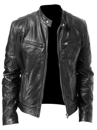 Stand Collar Standard Plain Slim Zipper Leather Jacket