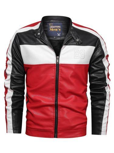 Standard Color Block Stand Collar Zipper Slim Leather Jacket