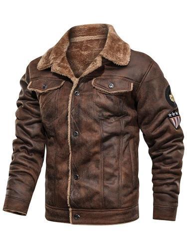Lapel Standard Pocket Slim Leather Jacket