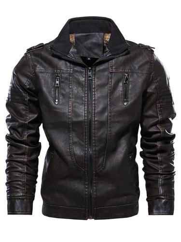 Epaulet Plain Stand Collar Zipper Winter Jacket