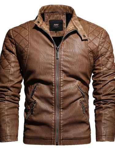 Stand Collar Plain Standard Zipper Fall Leather Jacket