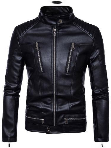 Standard Plain Stand Collar Slim Fall Leather Jacket