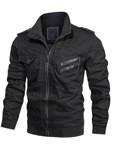 Stand Collar Patchwork Plain European Fall Jacket