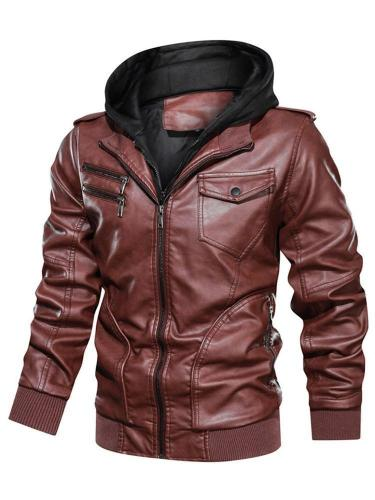 Standard Hooded Patchwork Zipper Leather Jacket