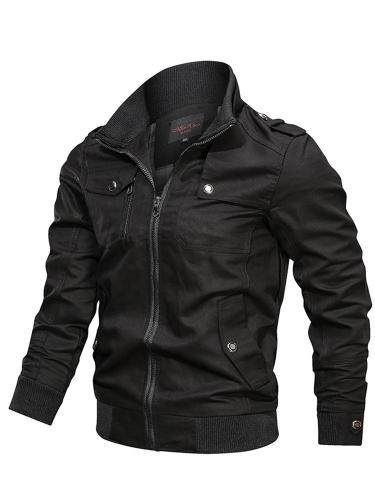 Thick Plain Stand Collar Slim Zipper Jacket