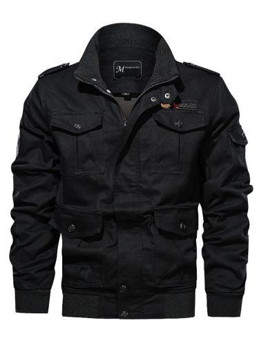 Pocket Stand Collar Thick Zipper Slim Jacket