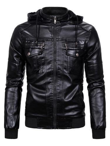 Hooded Plain Standard Slim Zipper Leather Jacket
