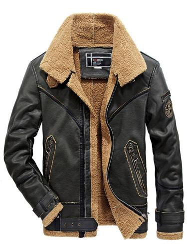 Stand Collar Standard Plain Winter Casual Leather Jacket