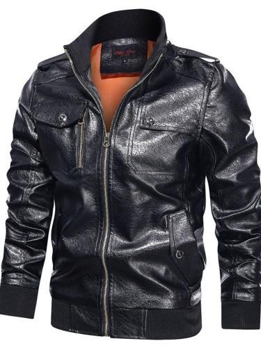 Color Block Stand Collar Standard Winter Pocket Leather Jacket