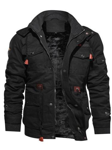 Pocket Fleece Lapel Zipper Casual Jacket