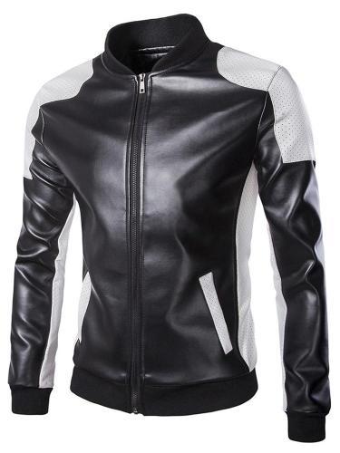 Color Block Stand Collar Standard Slim Patchwork Leather Jacket