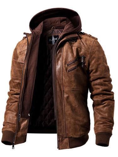 Plain Standard Hooded Slim Zipper Leather Jacket