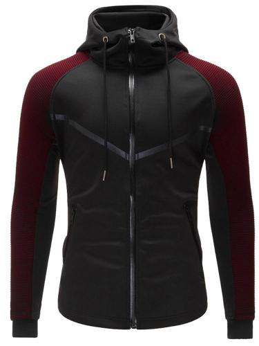 Men Contrast Raglan Sleeve Drawstring Jacket