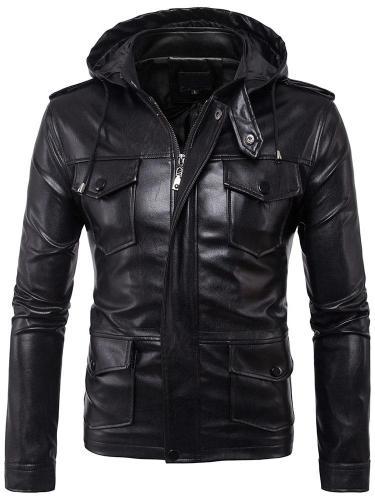Plain Stand Collar Standard Winter Slim Leather Jacket