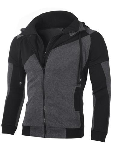 Men Jacket Double Zip Cotton Hoodie Sweatshirt Coat