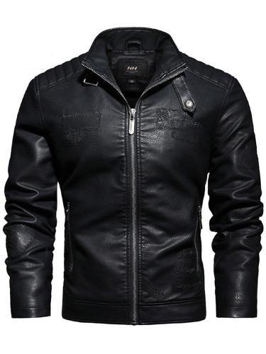 Stand Collar Plain Standard Slim Winter Leather Jacket