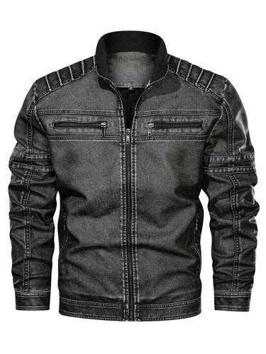 Standard Stand Collar Zipper Slim Leather Jacket