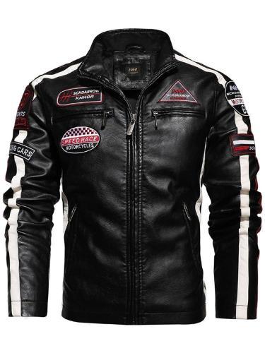 Color Block Stand Collar Standard Pocket Fall Leather Jacket Man Jacket