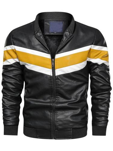 Stand Collar Color Block Casual Straight Jacket Man Jacket Motorcycle Jacket