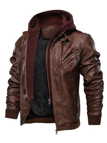 Standard  Jacket Hooded Slim Zipper Leather Jacket Motorcycle Jacket