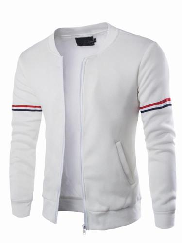 Men's Stand Collar Jacket Regular Solid Colored Daily Long Sleeve Jacket