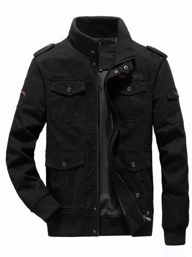Stand Collar Plain Winter Zipper Jacket Man Jacket