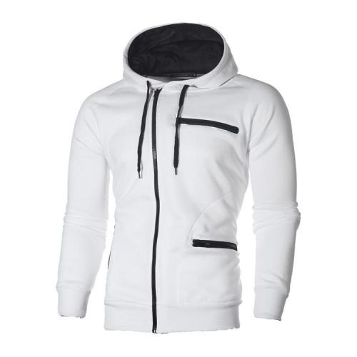 Men's Casual Jacket Zipper Decoration Drawstring Hooded Sweatshirt