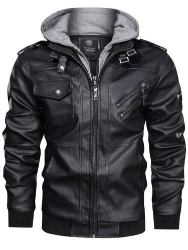 Standard Jacket Hooded Slim Zipper Leather Jacket