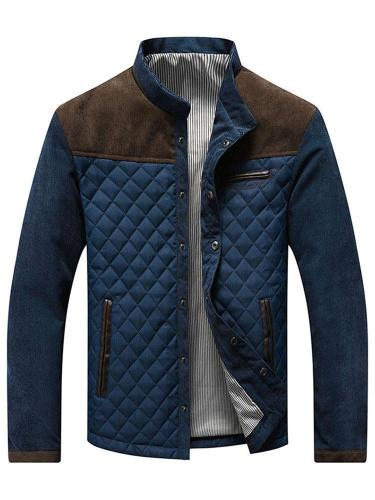 Patchwork Color Block Stand Collar Straight Casual Jacket Man Jacket