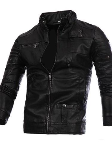 Stand Jacket Collar Standard Plain Fall Zipper Leather Jacket