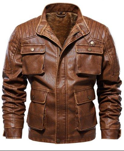 Plain Stand Collar Zipper Fall Men Jacket Cloth leather Jacket
