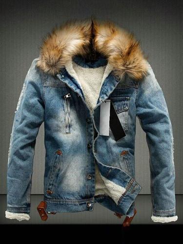 Hole Stand Collar Winter Zipper Jacket Man Jacket