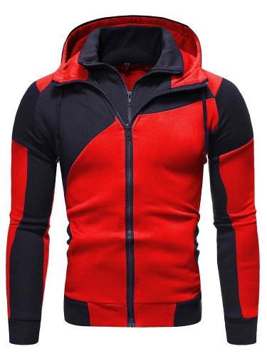 Men Jacket Double Zip Cotton Hoodie Sweatshirt Coat Jacket