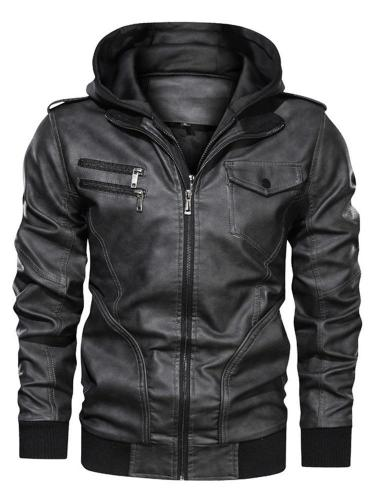 Standard Jacket Hooded Patchwork Zipper Leather Jacket Men Jacket
