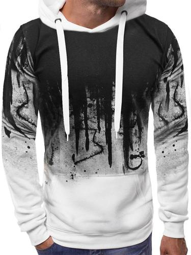 Men's Unique Letter Painted Long Sleeve Slim Fitted Hoodie Men Cloth
