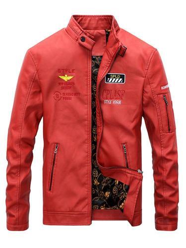 Men's casual retro motorcycle jacket autumn and winter plus velvet men's jacket Men Cloth Jacket
