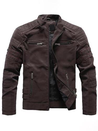 Men Jacket Pocket Plain Stand Collar Winter Casual Jacket
