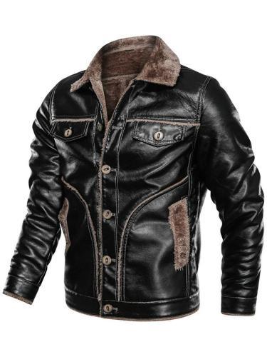 Lapel Standard Slim Single-Breasted Leather Jacket