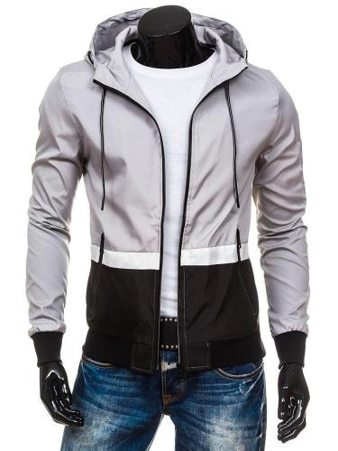 Hooded Patchwork Color Block Loose Zipper Jacket Man Jacket