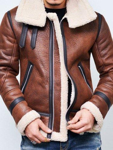 Lapel Plain Zipper Winter Jacket Man Jacket