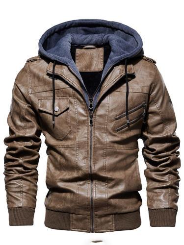 Plain Hooded Slim Casual Jacket Man Jacket