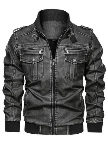 Stand Jacket Collar Standard Fall Zipper Leather Jacket