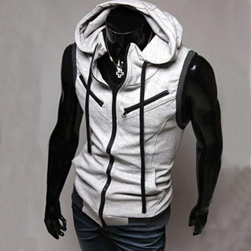 Mens Hooded Sleeveless Zipper Sweatshirt Sport Gym Warm Cloth