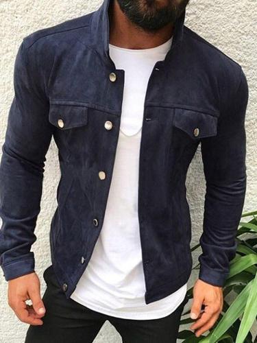 Pocket Stand Collar Plain Casual Winter Jacket Man Jacket