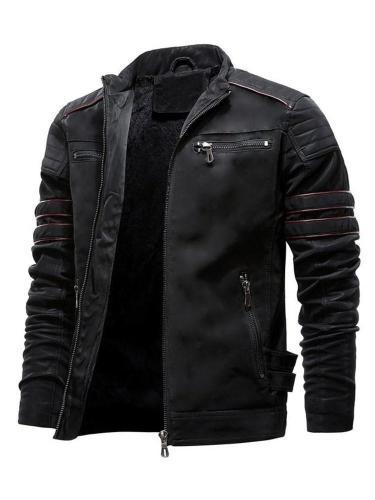 Stand Jacket Collar Standard Jacket Stripe Zipper Zipper Leather Jacket