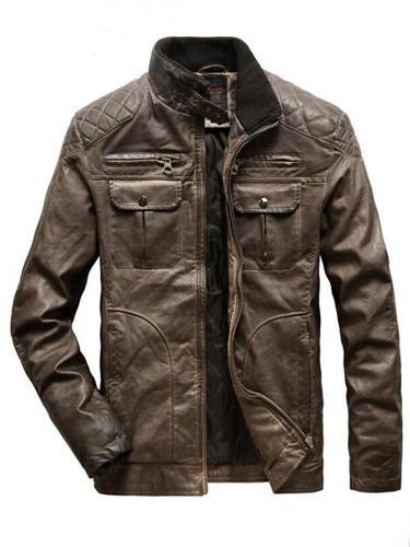 Stand Jacket Collar Plain Fall Casual Jacket Man Jacket